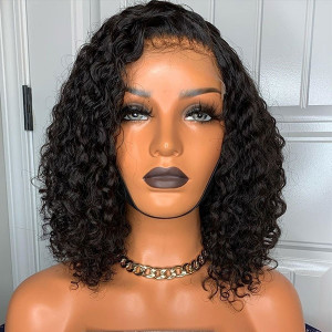 Newa Hair 180 Density Pre Plucked Brazilian Human Remy Hair Bleached Knots Gluless Curly Bob 360 Lace Frontal Wig With Baby Hair (Y19)