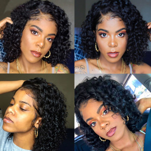 Newa Hair 150 Density 13x6 Short Curly Human Hair Bob Wigs Brazilian Lace Front Wig Pre Plucked (037)