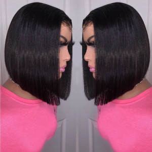 Newa Hair 150 Density 13x6 Short Straight Lace Front Human Hair Bob Wigs Pre Plucked(w57)