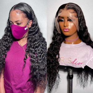 Undetectable Invisible HD Lace Glueless 13*4 Frontal Wigs Brazilian Virgin Human Hair Pre Plucked Hairline (w022)