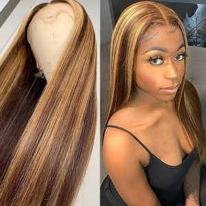 Newa Hair 150 Density Omber Color 13x6 Brazilian Straight Lace Front Human Hair Wigs Pre Plucked(y245)