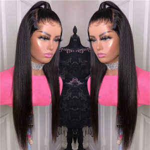 Newa Hair 150 Density 370 Fake Scalp Wig Brazilian Straight 370 Lace Human Hair Wigs(Y33)
