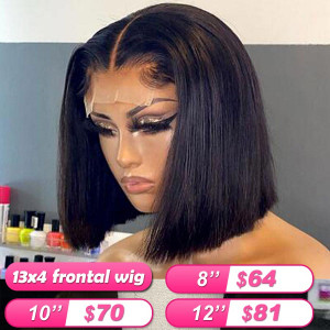 Summer Sale Newa Hair 13*4 Frontal Wigs Brazilian Straight Human Hair Bob Wigs (003)