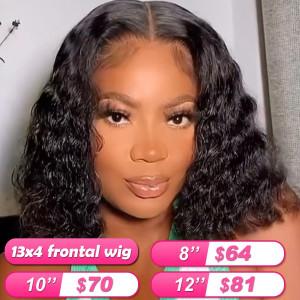 Summer Sale Newa Hair 13*4 Frontal Wigs Deep Wave Human Hair Bob Wigs (004)