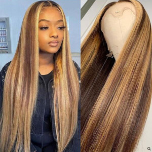 Newa Hair Highlight Blonde And Brown Hair 150 Density 13x6 Brazilian Straight Lace Front Human Hair Wigs Pre Plucked Hairline With Perimeter Baby Hair Bleached Knots(012)