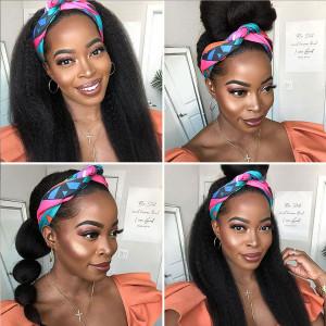 Affordable&Beginner Friendly Headband Wig Kinky Straight Human Hair Wig 150 Density(017)