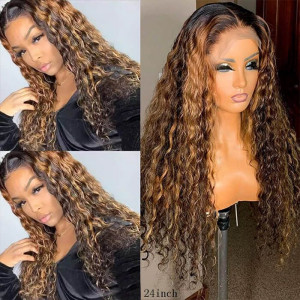 Highlight Brown Hair 13x6 Lace Wigs Brazilian Curly Lace Front Human Hair Wigs Pre Plucked Hairline With Perimeter Baby Hair(011)