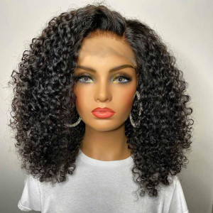 13x6 Lace Bob Wigs Curly Virgin Human Hair Pre Plucked Hairline With Baby Hair (w030)