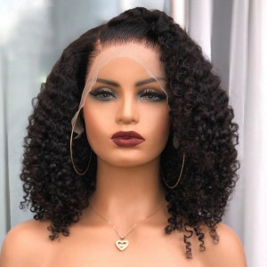 Newa Hair 180 Density Brazilian Curly 360 Lace Frontal Wig Pre Plucked (Y08)