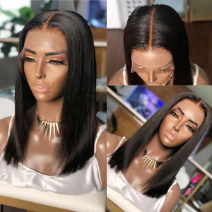 Newa Hair 150 Density 13x6 Short Straight Lace Front Human Hair Bob Wigs Pre Plucked(Y10)