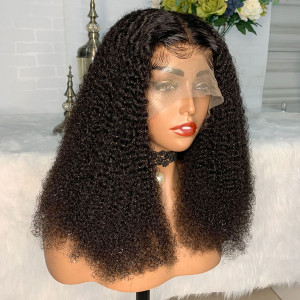 Newa Hair 150 Density 13x6 Kinky Curly Lace Front Human Hair Bob Wigs Pre Plucked(YY13)