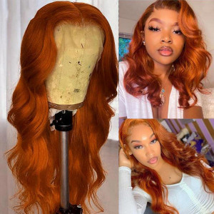 Ginger Colored Wig Transparent Lace 13x6 Lace Front Human Hair Wigs Brazilian Body Wave Glueless Preplucked Hairline With Baby Hair(014)