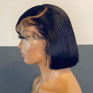 Top Sale Glueless 13x6 Lace Bob Wigs Straight Brazilian Virgin Human Hair Pre Plucked Hairline (w027)