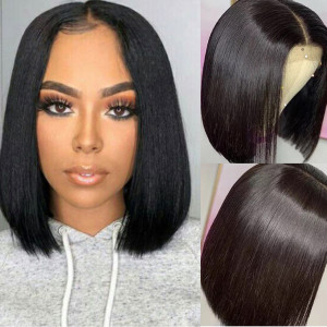Newa Hair 13x6 Lace Front Human Hair Wigs Brazilian Hair Straight Bob 150% density Pre-Plucked Hairline (Y27)