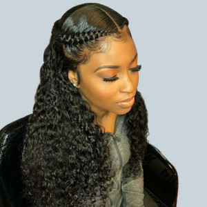 Newa Hair 150 Density Brazilian Water Wave 370 Fake Scalp Wig Human Hair Wigs(w211)