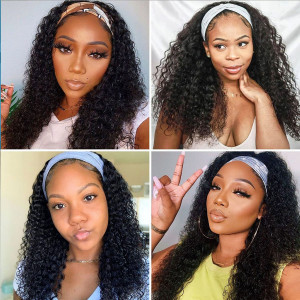 Affordable&Beginner Friendly Headband Wig Deep Curly Human Hair Wig 150 Density(015)