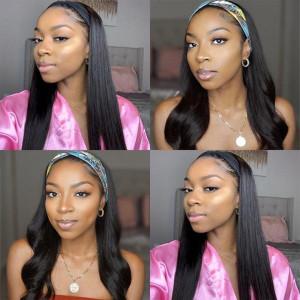 Affordable&Beginner Friendly Headband Wig Silky Straight Human Hair Wig 150 Density(016)