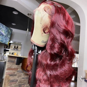 99J Color 13x6 Lace Wigs Body Wave Brazilian Virgin Human Hair Wigs Pre Plucked Hairline With Baby Hair (w033)