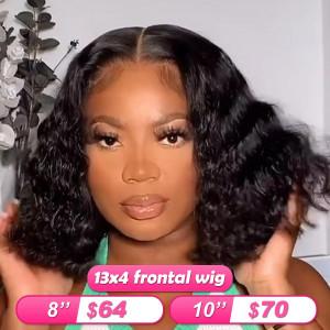 Summer Sale Newa Hair 13*4 Frontal Wigs Deep Wave Human Hair Bob Wigs (w004)