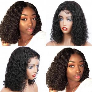 Newa Hair 130 Density Brazilian Curly 13X6 Lace Front Wigs Short Human Hair Bob Wigs(w172)