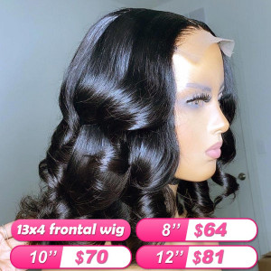 Summer Sale Newa Hair 130 Density Brazilian Hair 13X4 Frontal Wigs Short Lace Front Human Hair Wigs Wet And Wavy Bob Wigs Bleached Knots(005)