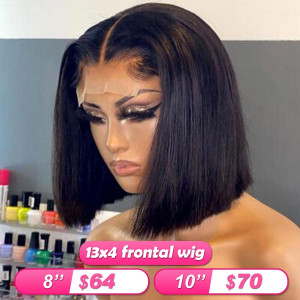 Summer Sale Newa Hair 13*4 Frontal Wigs Brazilian Straight Human Hair Bob Wigs (w003)
