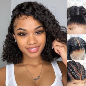 Newa Hair 130 Density 13X4 Brazilian Curly Lace Front Wigs Human Hair Bob Wigs(w173)