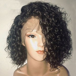 Youtube Hair Newa Hair 150 Density 13x6 Short Human Hair Bob Wigs Brazilian Curly Lace Front Wigs(w58)
