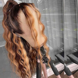 Newa Hair 150 Density #4#27 13x6 Brazilian Wave Lace Front Human Hair Wigs Pre Plucked(yy18)