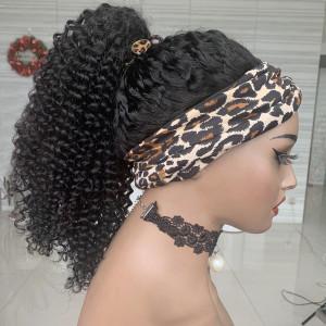 150 Density Headband Wig Brazilain Deep Curly Human Hair Wig (YY61)