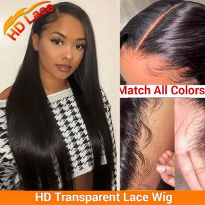 Newa Hair 150 Density 5x5 HD Lace Front Wigs Brazilian Straight Human Hair Wig Pre Plucked (YY58)