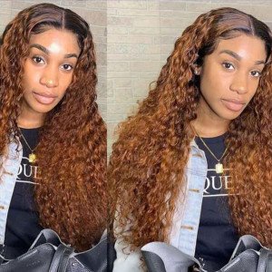 Yonce Wig 150 Density Omber 13x6 Brazilian Water Wave Lace Front Human Hair Wigs Pre Plucked(yy47)