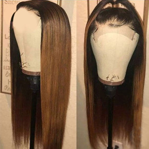 Newa Hair 150 Density Ombre Color 13x6 Brazilian Straight Lace Front Human Hair Wigs Pre Plucked(Y13)