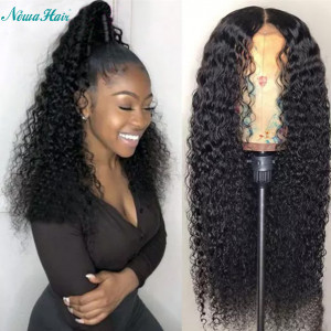 Newa Hair 130 Density 13X6 Brazilian Human Hair Curly Lace Front Wig Baby Hair (w004)
