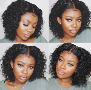 Newa Hair 130 Density 13X6 Brazilian Curly Lace Front Human Hair Bob Wigs Pre Plucked (W184)