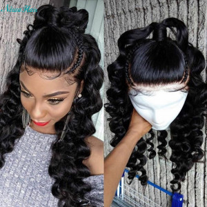 Newa Hair 250 Density Pre Plucked Brazilian 360 Lace Frontal Wig Loose Wave (w81)