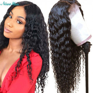 Newa Hair 130 Density 13x6 Curly Brazilian Lace Front Human Hair Wig Pre Plucked (w105)