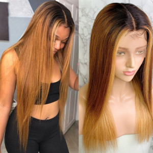 Newa Hair 150 Density Omber Color 1BT6#T27# 13x6 Brazilian Straight Lace Front Human Hair Wigs Pre Plucked(y115)