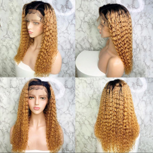 Newa Hair 150 Density Omber Color 1BT27# 13x6 Brazilian Water Wave Lace Front Human Hair Wigs Pre Plucked (y117)