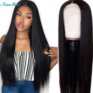 Newa Hair 130% density Straight Hair Brazilian Hair 13x6 Lace Front Human Hair Wigs Pre-Plucked hairline (Y25)