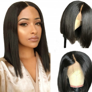 Newa Hair 360 Lace Frontal Human Hair Wigs Straight Bob 150% density Pre-Plucked hairline (Y28)