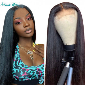Newa Hair 13x6 Lace Front Human Hair Wig Straight Brazilian Hair Pre Plucked 150% Density (Y29)